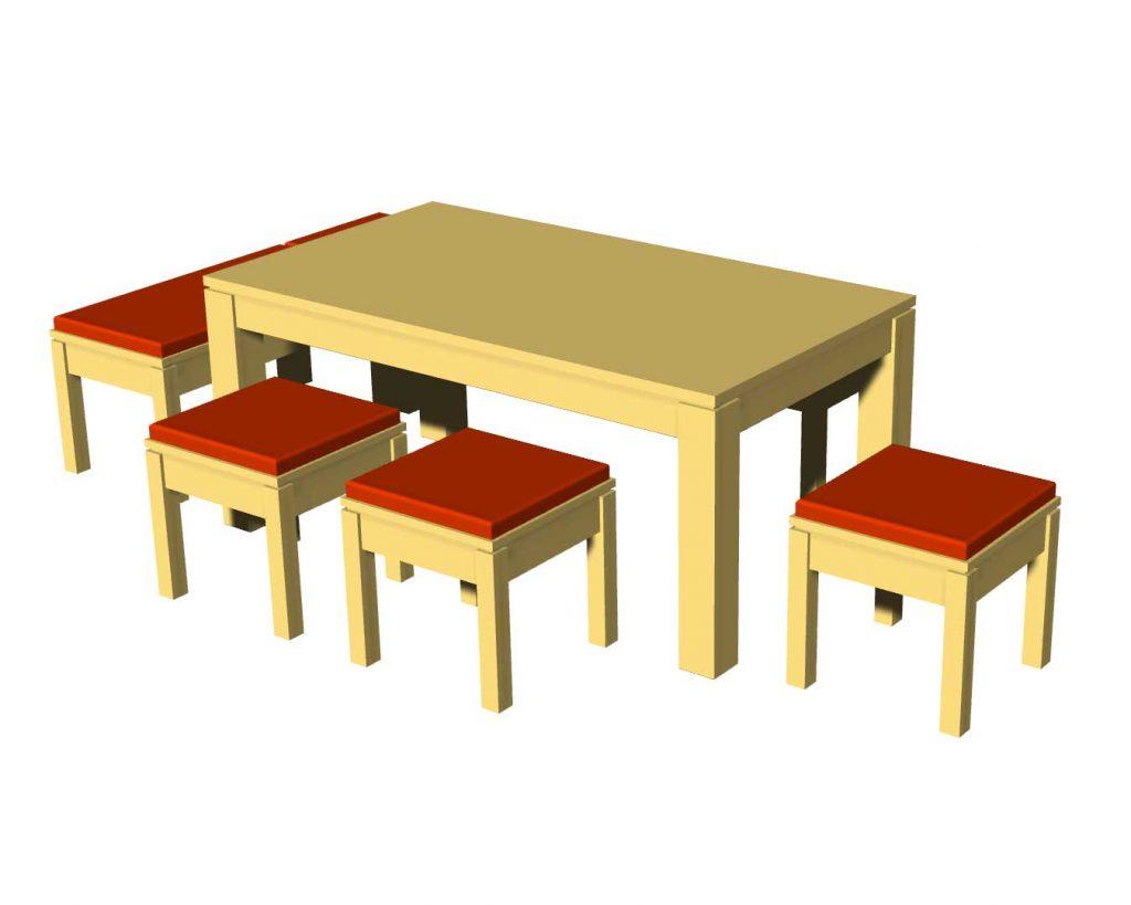 Sitzgruppe mit Bänken und Hockern